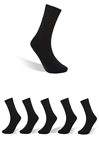 Björn Swensen Socken Herren Damen schwarze Basic Strümpfe für Business Freizeit 5er Pack 43-46