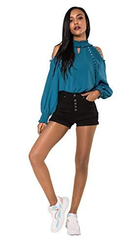 Crazy Age Damen Bermuda Shorts Damen High Waist Shorts Kurze Hosen 5 Pocket Jeans-Shorts   Lockere Kurze Hose aus hochwertigen Denim (40, Black)