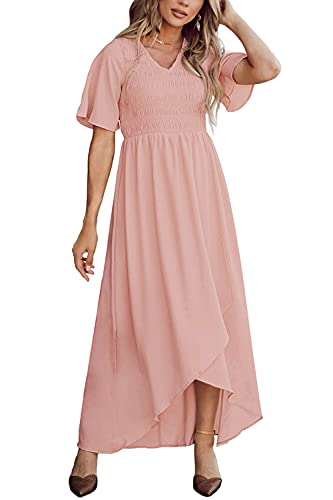 Zattcas Smocked Dresses for Women Maxi Dresses Long Dress with Sleeve Pink Blush XL