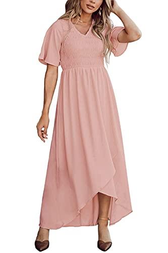 Zattcas Womens Maxi Dress Short Sleeve Casual Summer Smocked Dress Pink Blush L