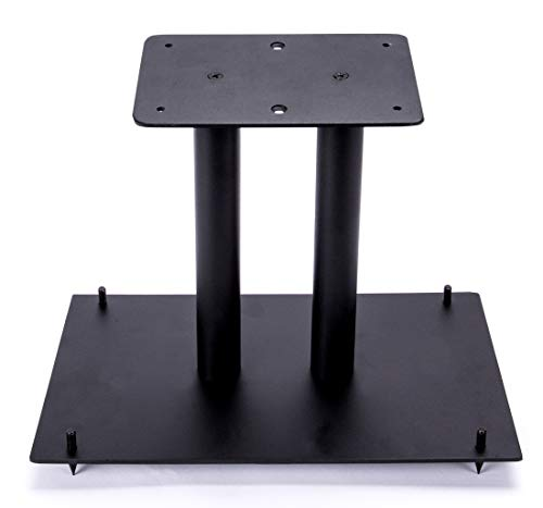 """13"""" Heavy Duty, Steel Center Channel Speaker Stand   Fillable   For Medium to Large Speakers   Comes with Steel Carpet Spikes   By Vega A/V Systems   15.5"""" x 9.5"""" Base, 5.5"""" x 9"""" Speaker Pedestal"""