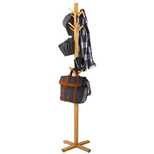 BAKAJI Attaccapanni Appendiabiti a Piantana da Terra in Legno di Bamboo con 12 Ganci Appendi Abiti e Base a Croce Design Moderno Colore Legno Bambu Naturale Dimensioni 177 x 45 cm