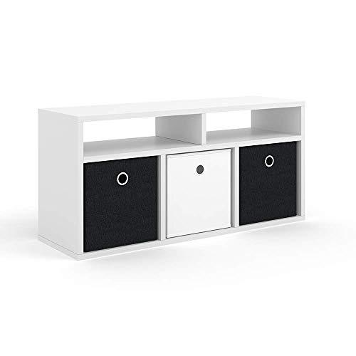 Vicco Raumteiler HYLDA inkl. Faltboxen Weiß Standregal Regal Bücherregal Büroregal (5 Fächer)