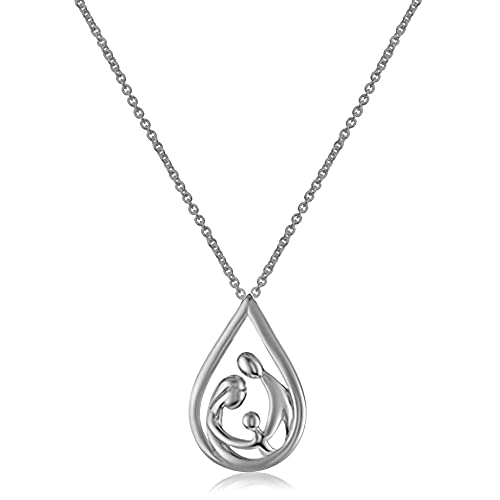 """Jewelili Sterling Silver Parent One Child Family Drop Pendant Necklace, 18"""" Rolo Chain"""
