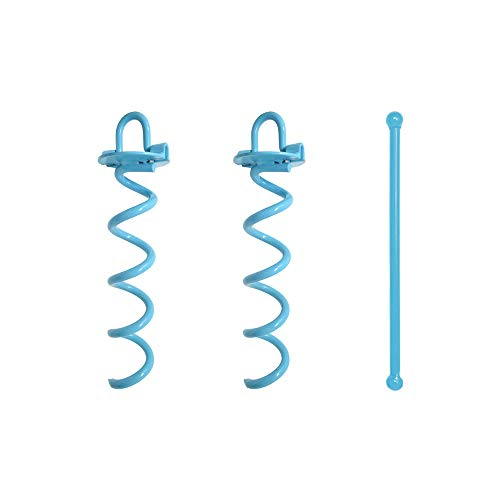 Spiral Ground Anchor, 10 Inch, with Folding Ring for Securing Tents, Canopies, Tarps, Trampoline, Swing Sets, Powder-Coated Solid Steel Earth Auger