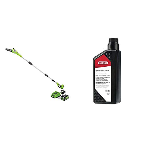 Greenworks 8.5' 40V Cordless Pole Saw, 2.0 AH Battery Included 20672 & Oregon 54-026 Chainsaw Bar and Chain Oil, 1 Qt