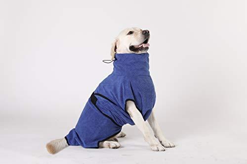 Hunde-Bademantel Mikrofaser Hundehandtuch Schnell Trocknend Super Saugfähig Komfortabel und mit verstellbaren Trägern Blau (L)