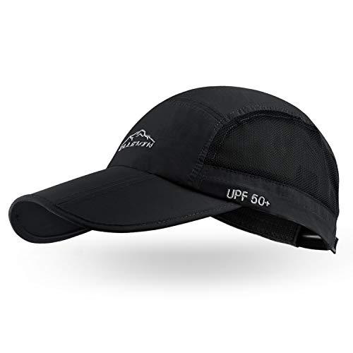 ELLEWIN Casquette de baseball unisexe UPF 50 non structurée avec longue visière pliable, Noir-M/L, M/L