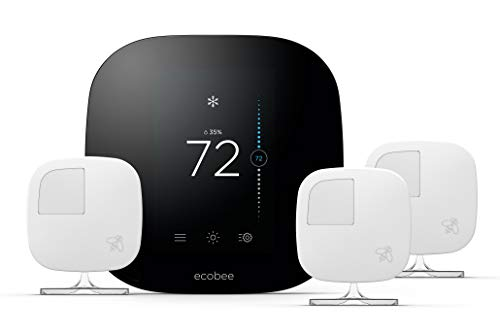 ecobee3 Smart Thermostat & 3 Room Sensors, Compatible with Alexa (Renewed)