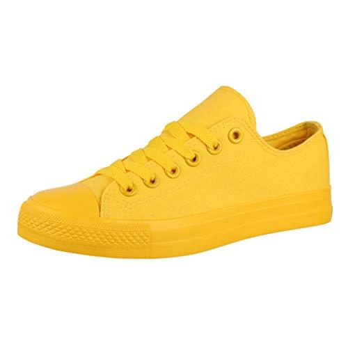 Elara Zapatilla de Deporte Unisex Low Top Textil Chunkyrayan Todo Amarillo B338-B340 Yellow 01-A-43