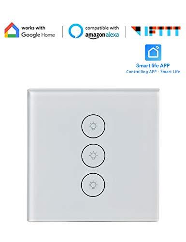 Wifi Interruptor Inteligente Interruptor de Pared Táctil Panel de Vidrio Sensible al Tacto Conmutador Blanco Compatible Alexa, Google Home Android y la Aplicación iOS para Smart Home