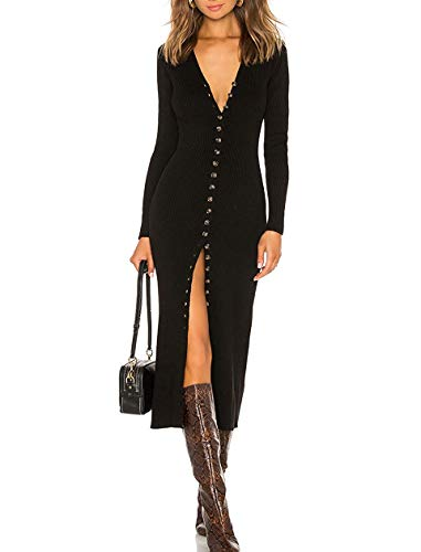 CMZ2005 Women's Button Down Long Sleeve Cardigan Outerwear Sweater Dress Bodycon Party Maxi Dress 6088 Black