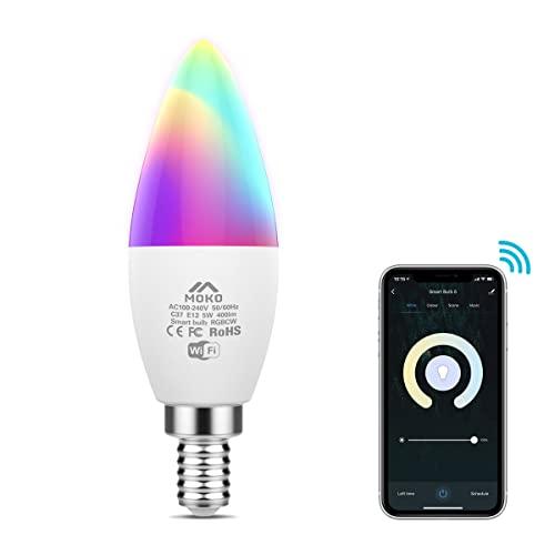 MoKo WiFi LED Bombilla Inteligente, E14 5W Base de Lámpara de Candela, Bombilla de Vela, Funciona con Alexa Echo SmartThings Google Home para Control y Temporizador,RGB +Blanco Cálido+Blanco Frío