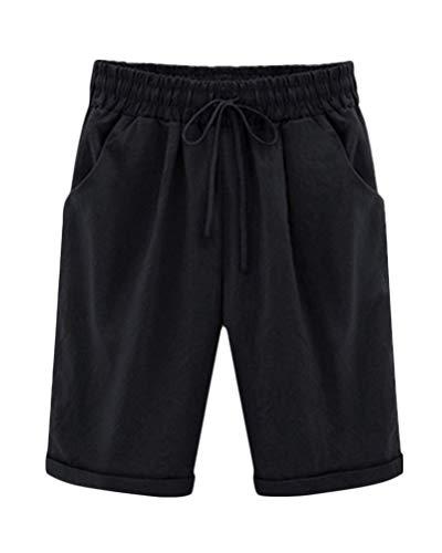 ShallGood Damen Bermuda Shorts Sommer Kurze Hose aus Leinen Elegante Haremshose Hohe Taille Lose Modische Shorts Frau Mit Gürtel Stretch Hotpants Schwarz X-Large