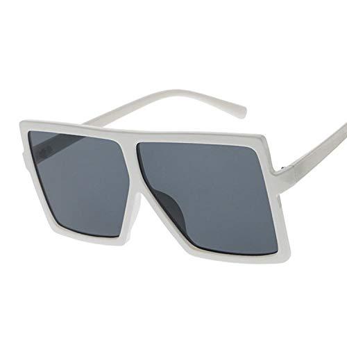 Gafas de Sol Mujer 2 PCS Gafas de Sol Mujeres Gafas de Sol Mujer Eyewear Eyeeglasses Marco de plástico Lente Transparente Shade Fashion Driving Gran tamaño (Lenses Color : White Gray)