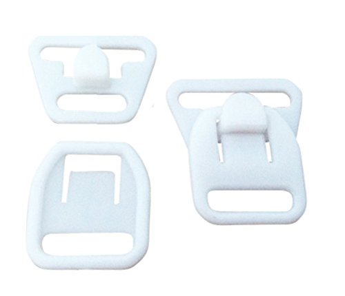 10 Pairs (40 Pieces) KAMsnaps Nursing Maternity Clips Clasps Plastic Hooks Buckles for DIY Breastfeeding Bras Camis and Tank Tops White 12mm (1/2')