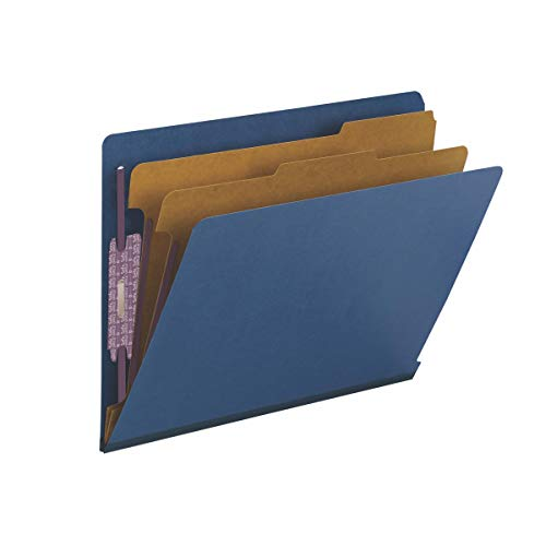 Smead 100% Recycled End Tab Pressboard Classification File Folder with SafeSHIELD Fasteners, 2 Dividers, 2