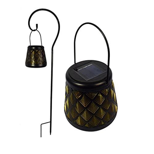 Lanterna a LED in ferro battuto a luce solare vuota lampada a sospensione LED Night Solar Garden Light con Stand Garden Decor