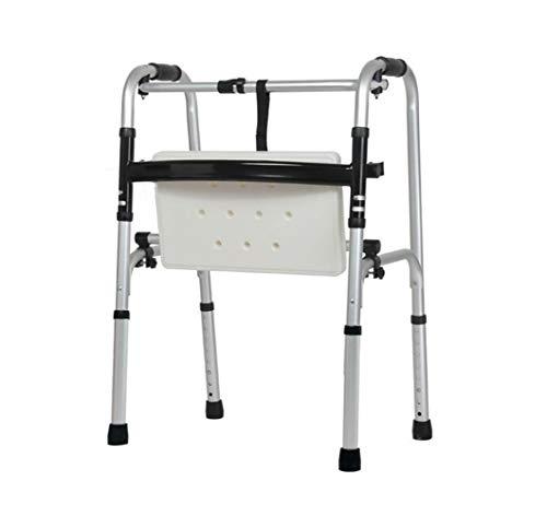 FGSJEJ Rollator, Aluminiumlegierung, rutschfeste Fußauflage, höhenverstellbare Fuß Fahrzeug, leicht und stabil, geeignet for Rehabilitationstraining (Color : Silver1)