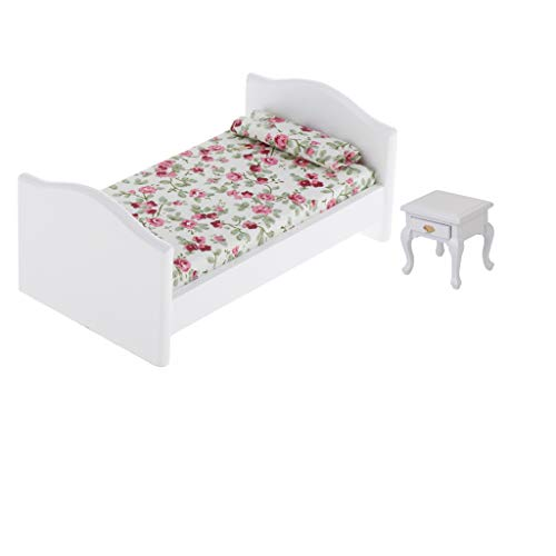 sharprepublic 1/12 Dollhouse Miniature Wooden Single Bed with Mattress Set Bedroom Furniture