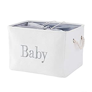 INough Storage Basket for Nursery, Toys Storage Bins, Empty Large Baby Shower Gift Basket,for Baby Girls or Boys Room,Wipes and Diapers, Storage Box for Nursery/Kids Room (14.2 x 10.2 x 9 Inches)