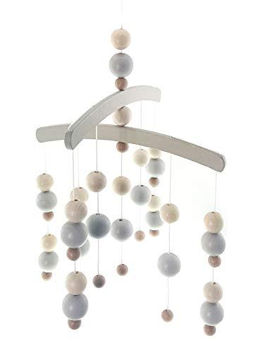 Hess Holzspielzeug 10128440 - Mobile in legno con palline grigie da appendere sopra il letto o il fasciatoio, circa 30 x 50 cm, colore: grigio, 200 g