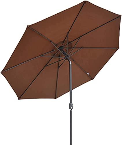 Paraguas de Patio Comercial, Paraguas al Aire Libre 9.8 pies Toldos de protección UV para el balcón del jardín, con inclinación de Botones y manivela, 8 Costillas sólidas (Color : Brown)