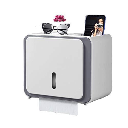 LJJOO Toilettenrollenhalter freistehend Multifunktions-Toilettenkasten, Selbstklebende Toilettenpapierhalter, geeignet für Restaurant Badezimmer (weiß) Gewerbliche Papierhandtuchspender