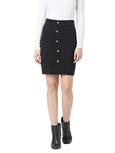Miss Chase Women's Black A-line Mini Denim Skirt(MCSS20DEN11-04-62-34,Black,34)