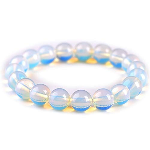 Bracelet 12mm Round Crystal Moonstone/turquoise Natural Stone Stretched Beaded Bracelet For Women Wristband Christmas Gifts