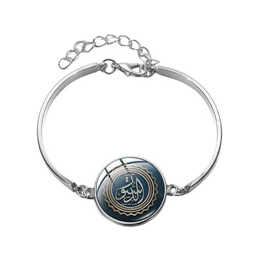 Pulsera islámica musulmana chapada en plata hecha a mano con imagen de cristal cúpula encanto pulsera árabe Allah Ramadán joyería