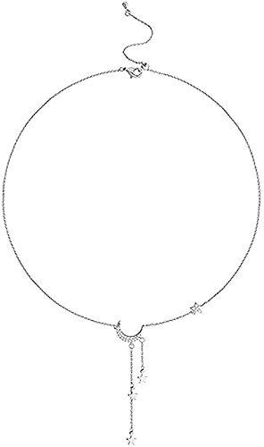 NC190 Bonito Collar de Estrella, Collar de Estrella y Luna, Estrella Brillante para niñas, Collar estrangulado, joyería de Boda, Regalo Fino