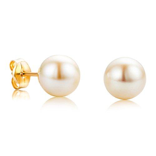 Orovi Damen Ohrringe Perlen Set Ohrstecker 18Karat Gold Gelbgold (750) Schmuck