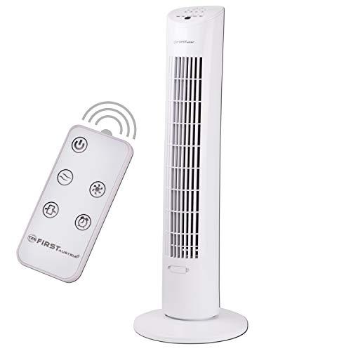 TZS First Austria - 60 Watt 79cm Säulenventilator mit Fernbedienung | Sleep-Modus | Nature-Modus | 7,5 Std Timer | Oscillation | Duftfach | Turmventilator | Towerventilator | maximal nur 51 dB, weiß