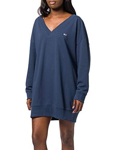 Tommy Jeans Damen TJW V-Neck Sweat Dress Kleid, Marineblau (Twilight Navy), Small