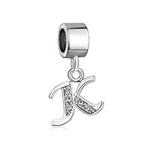 LuckyJewelry Letter Charms Initial A-Z Dangle Alphabet Clear Crystal Beadfit Bracelet (K)