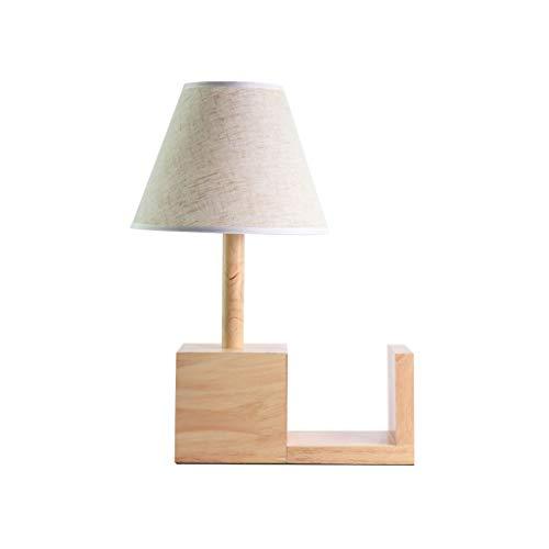 WYBFZTT-188 Legno Desk Lamp, Comodino Lampada da Tavolo con Paralume in Tessuto Bianco, Moderno Lampada da Comodino for la Camera da Letto, Tavolino, Agriturismo, Guestroom, Residenza Universitaria