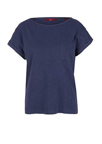 s.Oliver Damen Flammgarnshirt mit Brusttasche dark blue 38