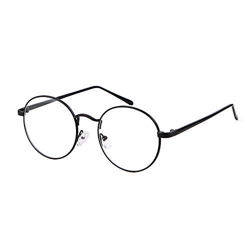 GIFIORE Runde Blaulichtfilter Brille Ohne Stärke, Mode Retro Dekobrille, Klare Linse Ebenenspiegel für Damen Herren