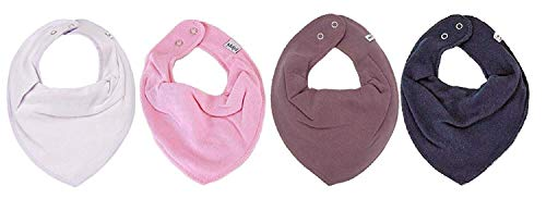 Pippi * Lot de 4 bavoirs triangulaires pour bébé - 4 pièces - Différentes combinaisons de couleurs (orchidée, rose, violet clair, bleu marine).