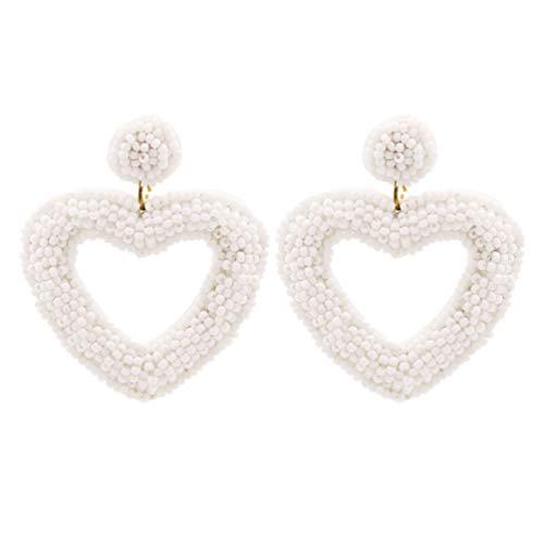 Happyyami 1 par de Pendientes de Corazón Pendientes de Tachuela Pendientes Colgantes Pendientes de Cuentas Pendientes de Oreja Joyería Blanca