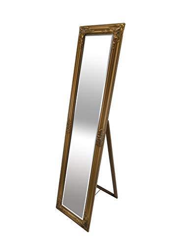 LEBENSwohnART Standspiegel Domingo 160x40cm Antik-Gold Ankleidespiegel Ganzkörperspiegel