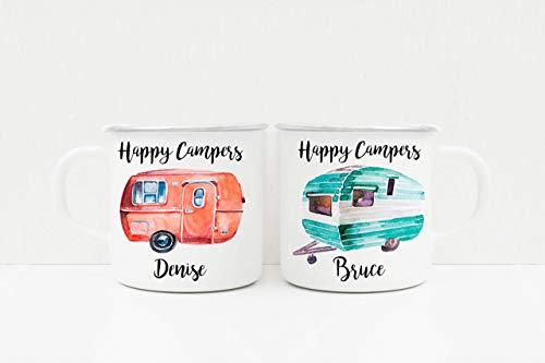 Taza personalizada Happy Campers - Tazas para caravanas - Tazas para parejas - Taza de viaje - Tazas para acampar - Regalos para ella - Regalos para él - Regalos para acampar - Regalos para caravanas