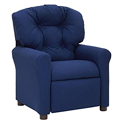 The Crew Furniture 991610 Traditional Kids Microfiber Recliner Chair Estate Blue from Sanford Enterprises, Inc.