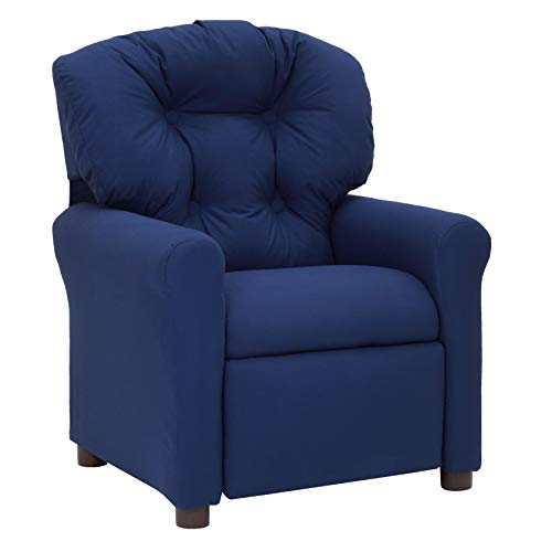 The Crew Furniture 991610 Traditional Kids Microfiber Recliner Chair Estate Blue