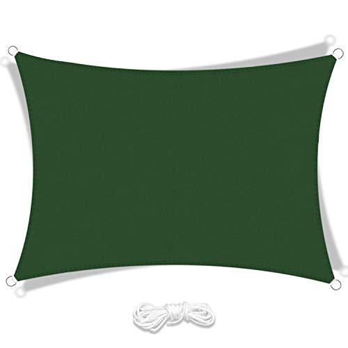 LIAOYI Toldo Vela de Sombra, Protección Rayos UV Impermeable Resistente Poliéster Toldo Vela para Patio Exteriores Jardín (2×3m, Verde Oscuro)