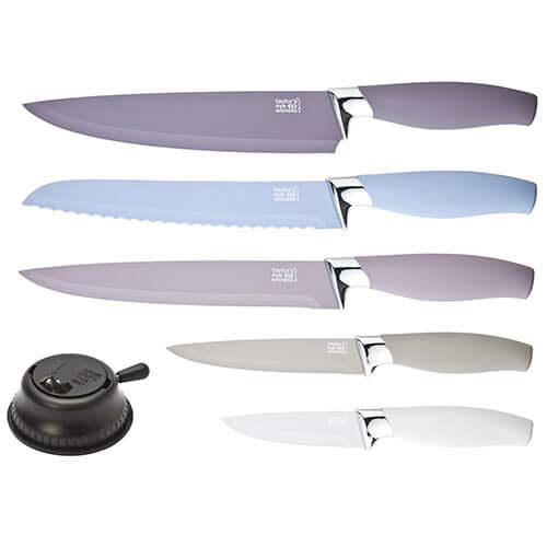 Taylors Eye Witness Brooklyn Stone 5 Piece Knife Set in Chrome & Stone/Mineral Colours with Additional Knife Sharpener