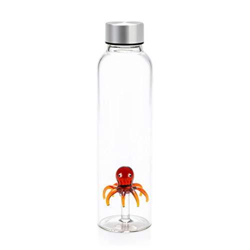 Balvi Botella Octopus para Agua 0,5 LTS Tapón antigoteo de Acero Inoxidable Ideal mesita de Noche y Oficina Borosilicato 23 cm