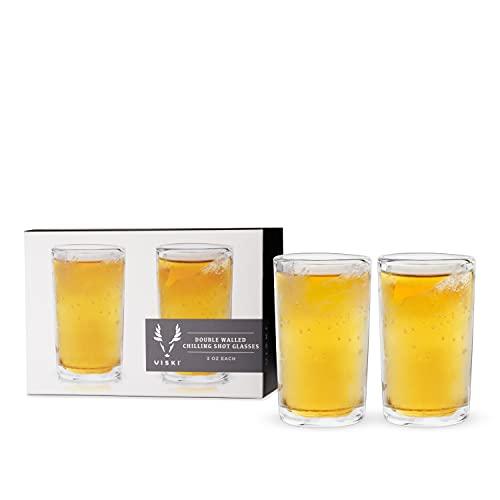 Viski Glacier Double-Walled Shot Glasses Liquor Chilling Drinkware, 3oz, Clear