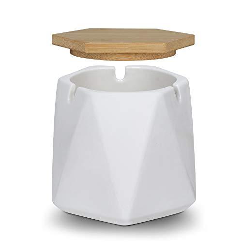 ONEDERZ Aschenbecher für Draußen mit Deckel, Keramik Windaschenbecher Geruchsdicht Sturmaschenbecher für Home Office Dekoration (Weiß)